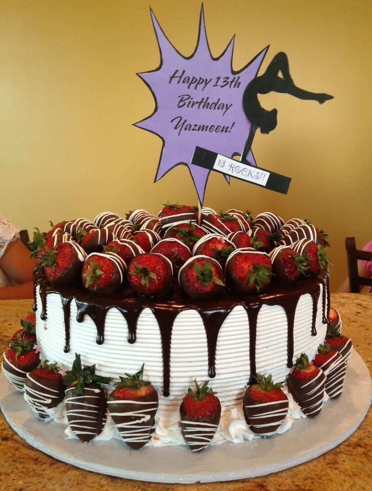 The best Birthday cake ever!!!!!!! Chocolate covered strawberry cake