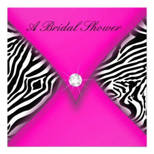 CUSTOMIZABLE (so can say Bachelorette Party instead) Pink and Black Zebra Bridal Shower Invite