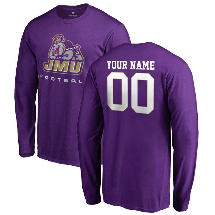 James Madison Dukes Personalized Football Long Sleeve T-Shirt - Purple