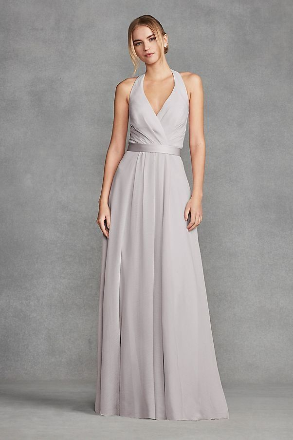 331aea7028c0 Chiffon Halter Bridesmaid Dress with Tulle Bow | David's Bridal ...