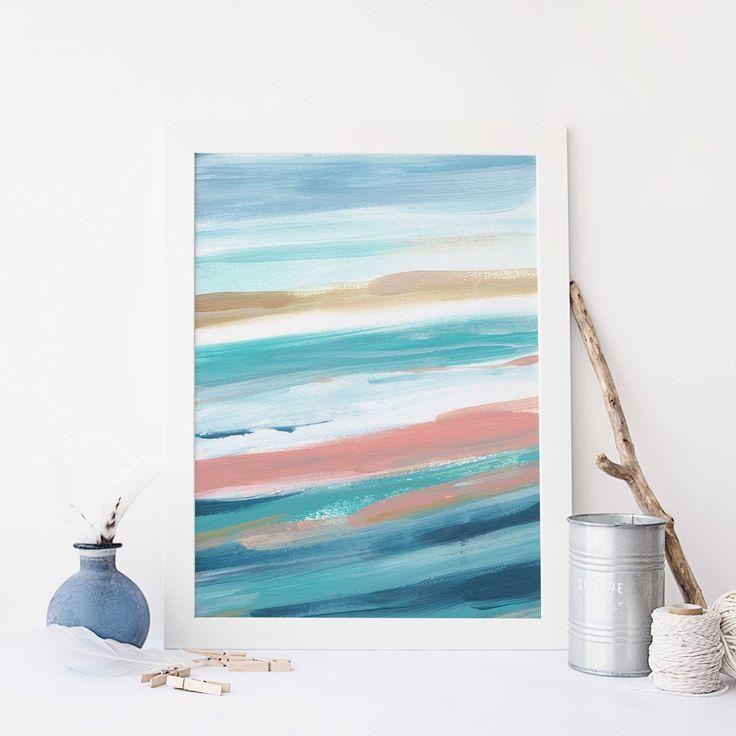 Modern Beach House Painting Turquoise Seascape Ocean Wall Art