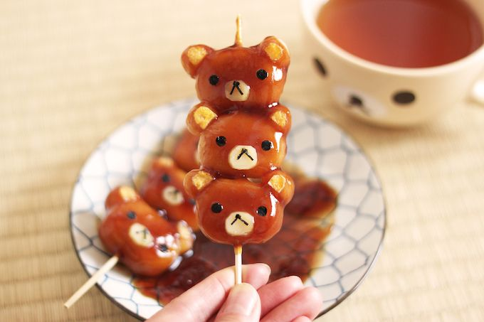 """The good old Japanese sweets """"Mitarashi Dango"""" , Rilakkuma version! Enjoy the step-by-step instruction of how to create this cuteness."""