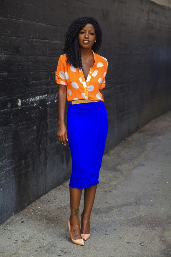 @Karen Darling Pantry Orange Polka Dot Shirt + Blue Pencil Skirt