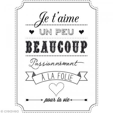 Tampon bois Amour - Je t'aime Un peu Beaucoup - 6 x 8 cm