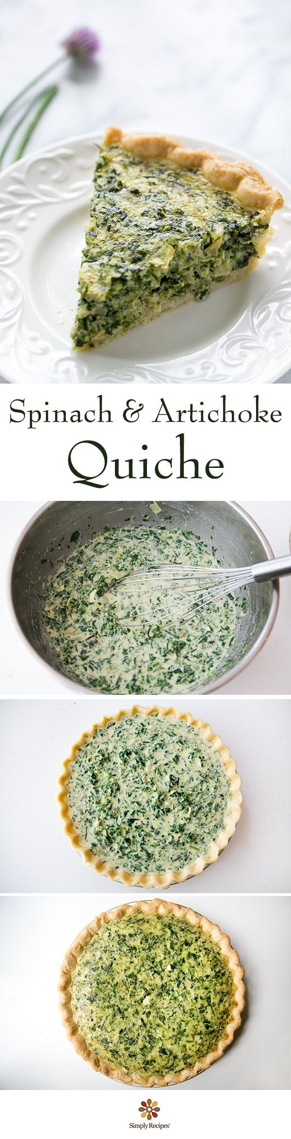 Spinach and artichoke quiche! With chopped spinach and artichokes hearts, shallots, goat cheese, green onions, eggs, and cream.