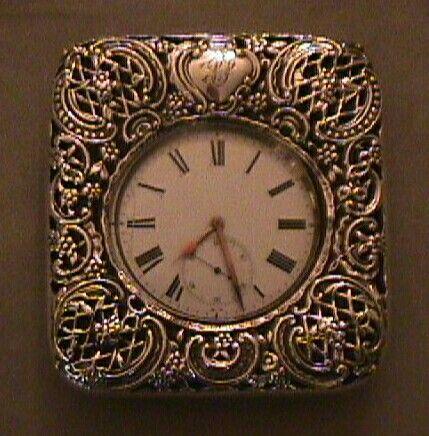 Orologio in scatola da viaggio originale con riporti in argento inglese punzonato originale collezione Riva gioielli argenti antichi specifiche sul sito web www.rivagioielli.it