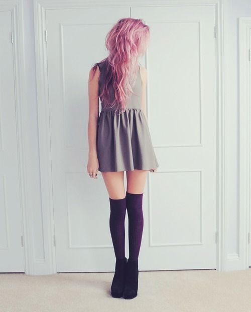Soft Grunge. Dress. Black Knee High Socks. Cute. Pink, Purple Hair.