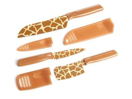 Amazon.com: Kuhn Rikon Animal Print Giraffe 3 Piece Cutlery Knife Set with Protective Sheathes: Kitchen & Dining