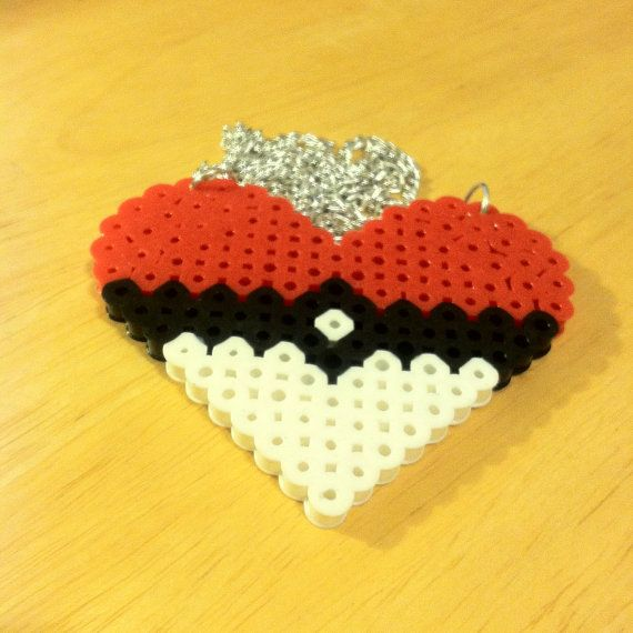 Pokemon Perler Bead Sprite Pokeball Heart Cute by TheLastSumerian