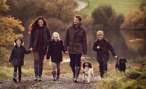 I love how it's an action shot of the family walking, plus it means we don't have to try to get our dog to sit still and pose!