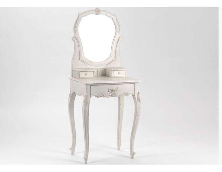 coiffeuse blanche bois vieilli meuble de chambre blanc romantique - Meuble Chambre Blanc