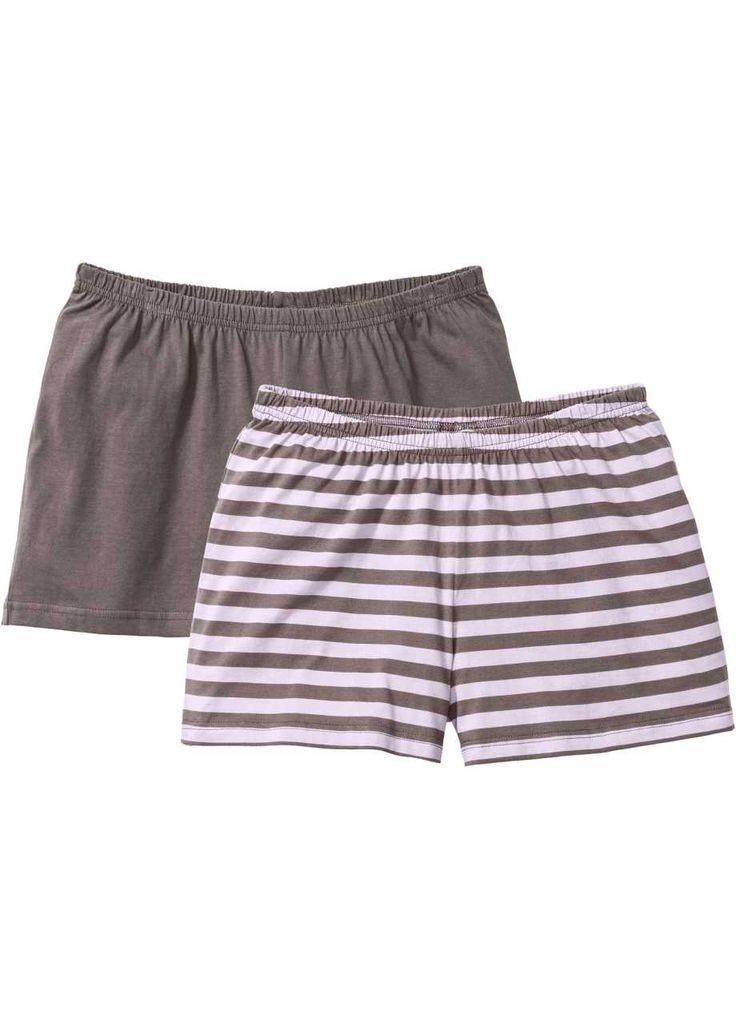 Shorts (pacco da 2) in cotone biologico, bpc bonprix collection, Marrone medio + violetto a righe