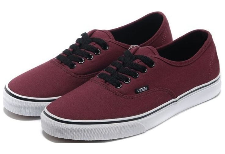 Vans Shoes Burgundy Authentic Womens/Mens Classic Canvas Sneakers