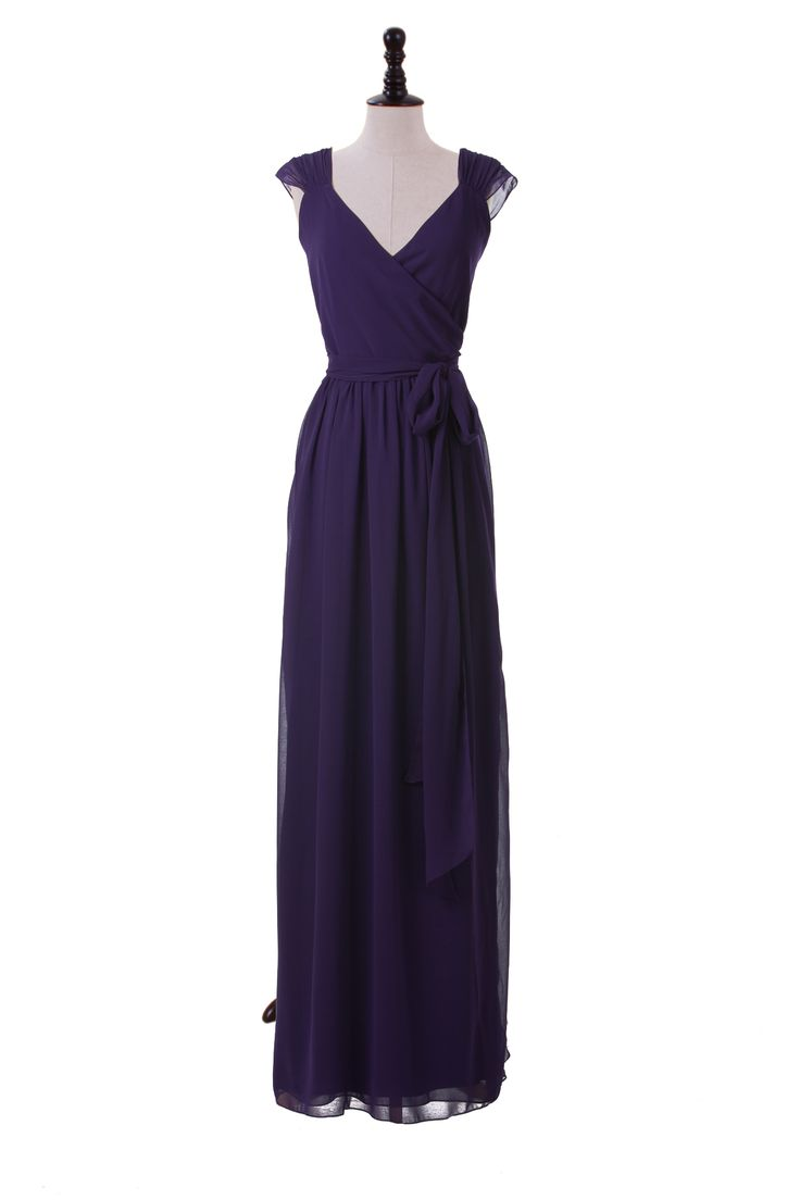 bridesmaid dress Capped Sleeve Chiffon Dress With V-Neck Neckline