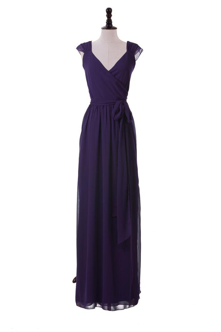 Capped Sleeve Chiffon Dress With V-Neck Neckline. Beautiful!