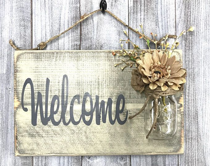 Rustic Country Home Decor Front Porch Welcome Sign Spring Etsy Custom Rustic Wood Signs Welcome Wood Sign Welcome Sign