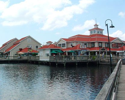 Barefoot Landing retail in Myrtle Beach connected by boardwalks (not near ocean, off a highway, but gives you a resort feeling while shopping and creates a destination).