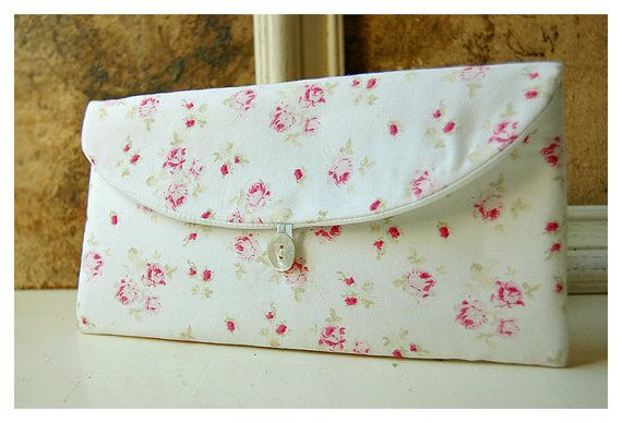 shabby chic pink roses clutch purse Spring Wedding by hoganfe