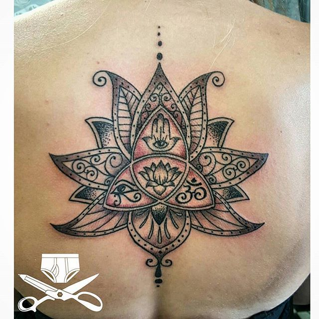 Google lotus re-ferbed. Loaded with symbolism... ready? Henna lotus, trinity knot, hamsa, eye of ra and the ohm. Boom. #lotusflower #lotus #hennatattoo #hennalotus #hamsahand #handoffatima #eyeofra #trinity #trinityknot #ohm #backtattoo #girlytattoos #girlswithtattoos #empiretattooinc #inkmaster #blackandgraytattoo #illustration #bostonbasedartist #tattoo #bostontattoo www.empiretattooinc.com