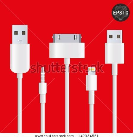 Cellphone usb charging plugs, Vector, eps10