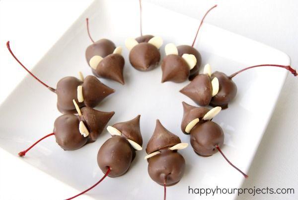 super simple Chocolate Cherry Christmas Mice