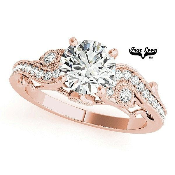 Forever One Moissanite Round  Brilliant Cut 1.00 Carat  14 kt. Rose  Gold Solitaire With  .28Carat side Diamonds Engagement Ring #7706 by TrekJewellers on Etsy