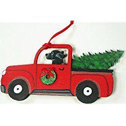 Black Labrador Retriever Dog Vintage Red Truck Wooden Handpainted 3-Dimensional Christmas Ornament - USA made.