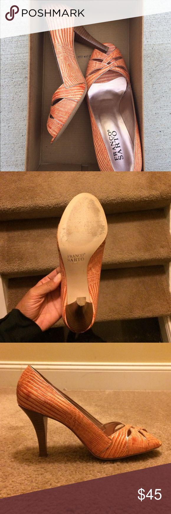 Franco Sarto orange heels Franco Sarto Orange Peep Toe Heels - super cute but I never wear heels anymore! Excellent Used Condition- worn 2x Franco Sarto Shoes Heels