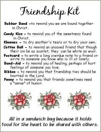 Friendship Kit - love this idea for women's ministry devotion or lesson  friendshipkitroses.png (325×425)