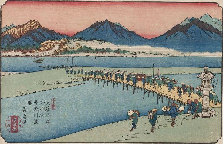 """Keisai Eisen (1790-1848), """"Stacja Honjō, prom na rzece Kanna"""", 1835 -1837, drzeworyt barwny"""