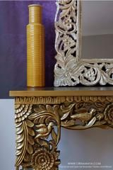 Divine Lotus Mango Wood Carved Gold Console Table