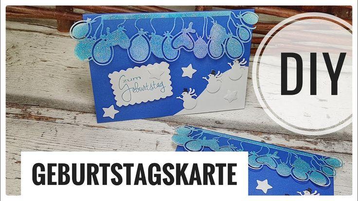 Kartenbasteln | einfache Geburtstagskarte im Winter selberbasteln DIY IDEE [Tutorial | deutsch]. Schritt-für-Schritt erklärt. Viel Spaß mit der Anleitung! #handmade #diy #selbstgemacht #karten