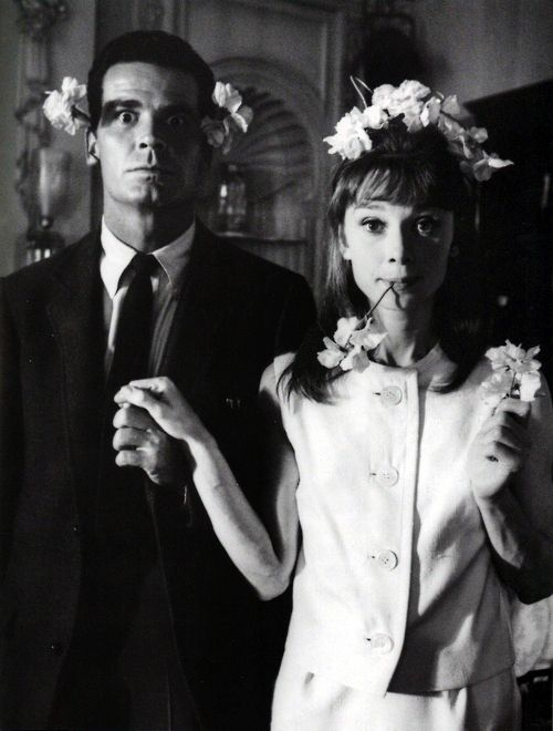 Audrey Hepburn and James Garner palling around on the set of The Children's Hour. Photograph by Bob Willoughby, 1961.