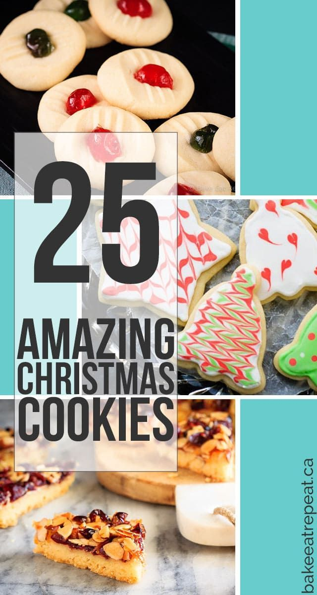 25 amazing Christmas cookies that you can make for the holidays this year! Pick one, or try a whole bunch of recipes - they all look fantastic!