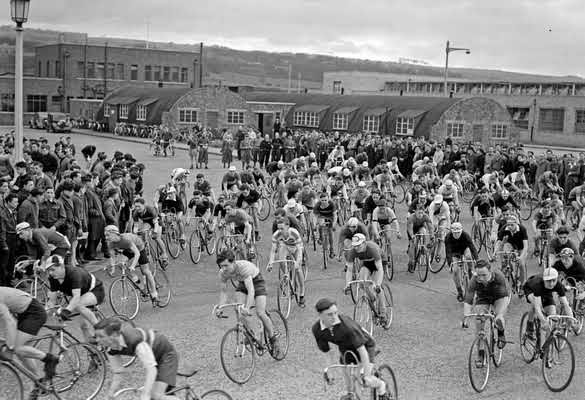 General view of Team Valley Trading Estate Cycle Race Olympic Trial. 25th March 1948