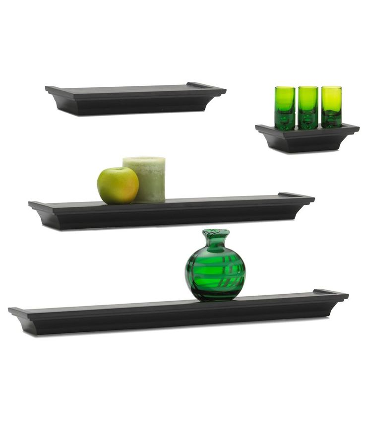 Melannco Home Decor, Set of 4 Black Wall Shelves - Collections - for the home - Macy's