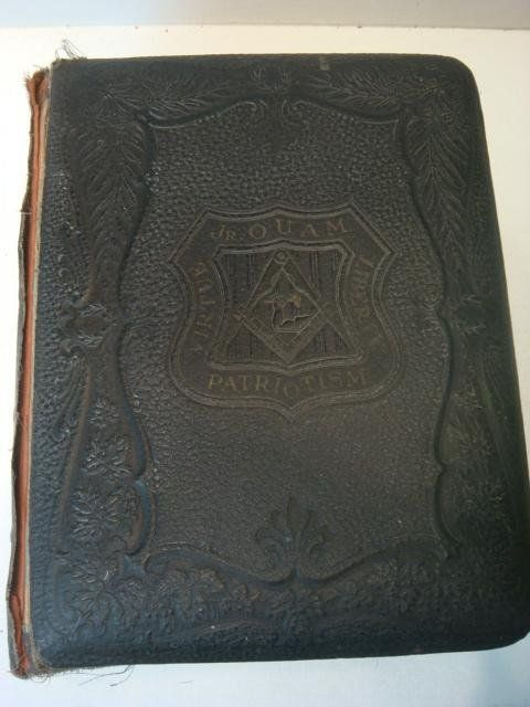 Freemason book with leather tooling.
