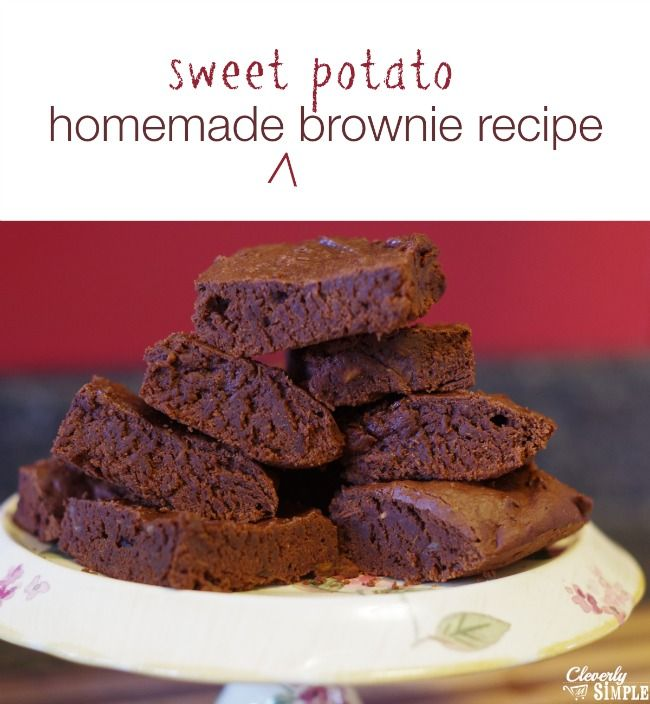 Homemade brownies made with sweet potatoes!  You'll use less sugar without losing any of the delicious taste!