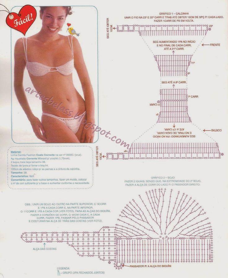 Artes Belas Crochet Biquini branco fácil com gráfico