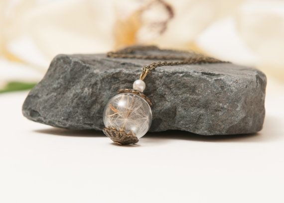 Real Dandelion Seed Necklace Eco Chic by LomharaJewellery on Etsy