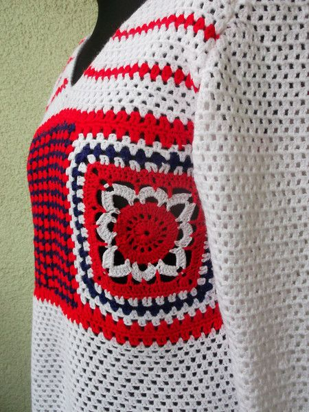 Sweaters & Vests – Crochet Tunic Tricolor – a unique product by Weroniq on DaWanda