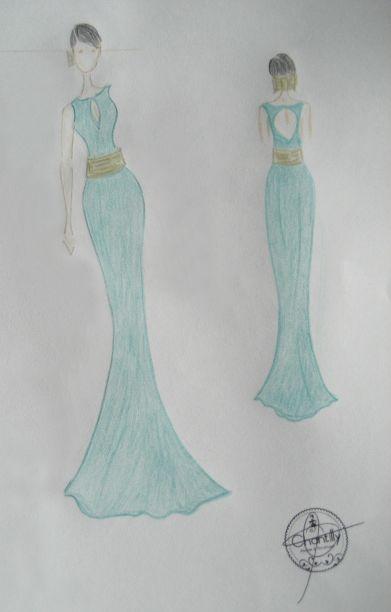 Vestido con abertura en escote delantero y espalda y fajin - Dibujos sencillos ...