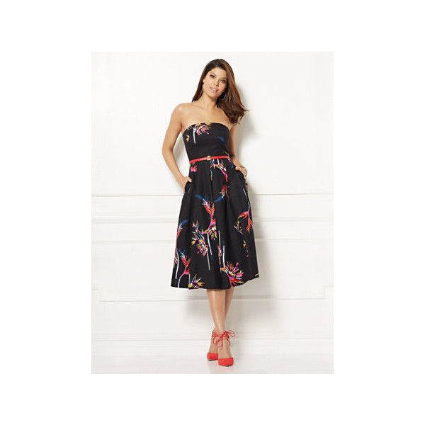 Eva Mendes Collection Del Mar Strapless Dress Petite ($45) ❤ liked on Polyvore featuring dresses, black, strapless dresses, metallic cocktail dress, floral dresses, petite cocktail dress and a line dress