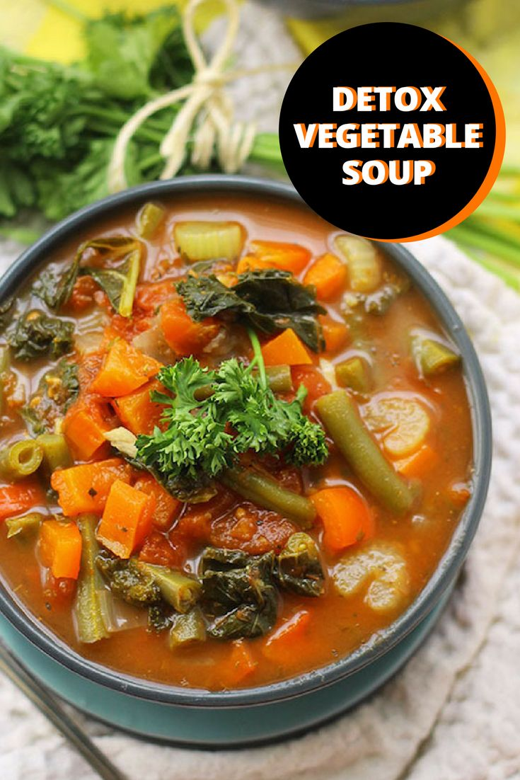If you are trying to eat clean, this delicious, low-fat detox soup is the perfect healthy recipe for you! There are a rainbow of colors from the vegetables in this beautiful soup that is also low in sugar. The vitamin-rich and fiber-filled recipe is vegetarian so I usually add a can of garbanzo beans or cooked ground turkey to add more protein to this recipe. This rich and flavorful soup recipe is a great go-to snack, so make a big batch and eat healthy all week!