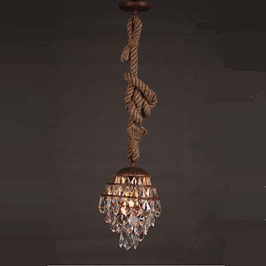 アメリカ の ヴィ ンテ ージ ロープ つり ランプ led クリスタル ペンダント照明器具用ダイニング ルーム ぶら下げ ランプ室内照明lamparas