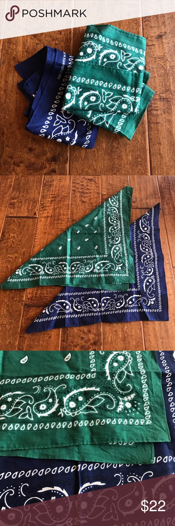 2 Vintage Bandanas!!!! Blue and green vintage bandanas. Still stiff never been washed. Vintage Accessories Scarves & Wraps