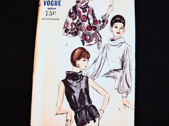 Vintage Vogue (year 1960s) Womens Blouse Pattern  Both overblouse and tuck-in versions have bias-cut fronts extending to back of the