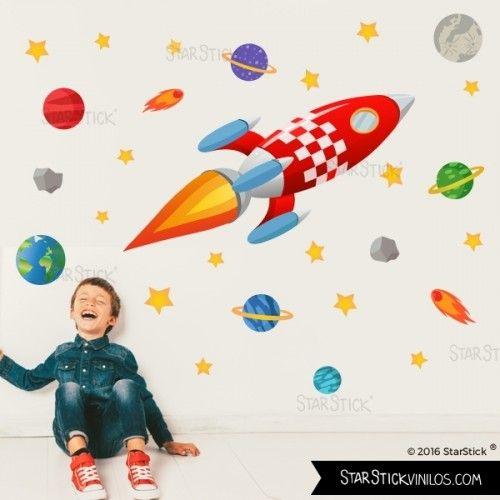 vinilos infantiles para nios con cohetes vinilos de pared para decorar