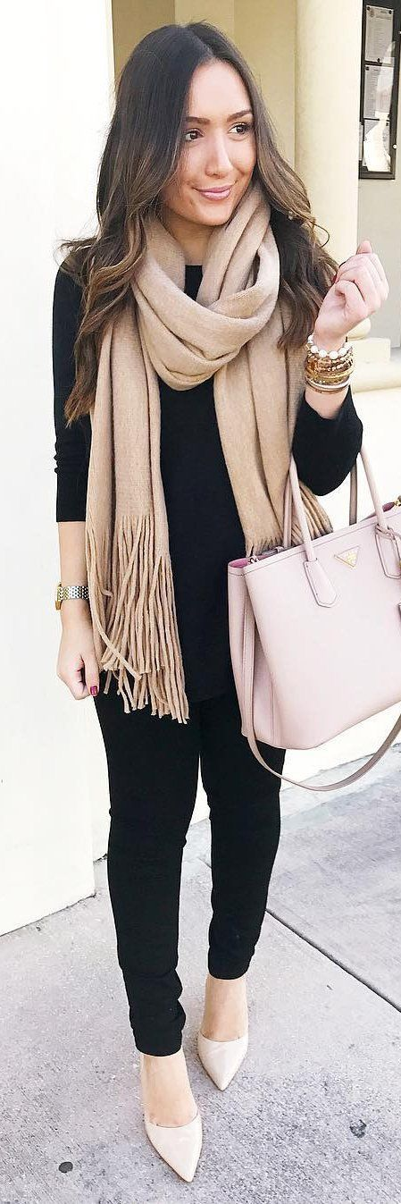 #winter #fashion /  Camel Fringe Scarf + Black Knit & Skinny Jeans + Tan Pumps