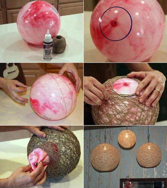 Pantallas para focos. Igual se pueden hacer esferas con pelotas más pequeñas.